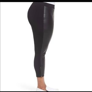 Sejour faux leather front crop leggings